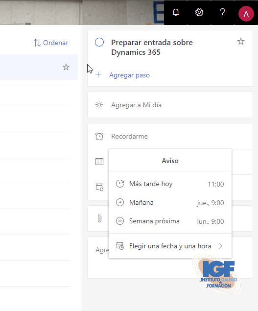 Microsoft To-Do en Office 365 - Instituto Galego de Formación