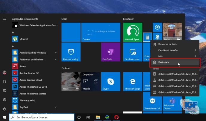 Actualización para Windows 10, versión 1903 desintalar las aplicaciones - igf.es