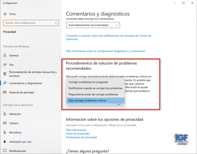 Procedimientos para Solucionar problemas en Windows 10 - igf.es