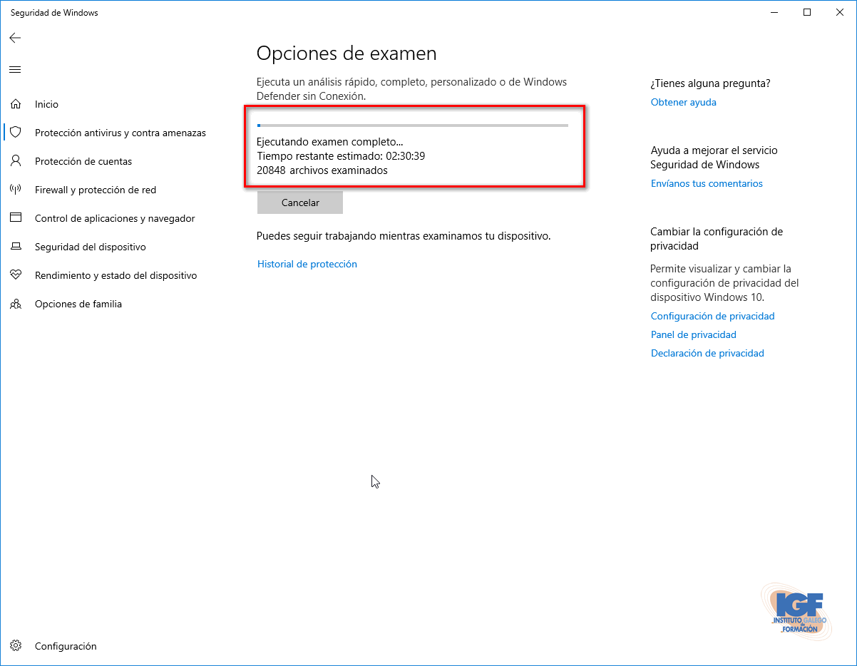 Examen del sistema en busca de amenazas con Windows Defender.