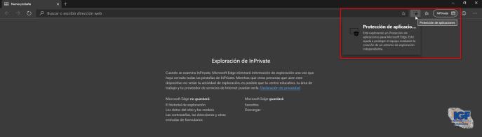 Navegar con seguridad por Internet con Microsoft Edge protección de aplicaciones InPrivate