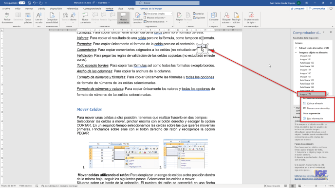 Comprobar la accesibilidad en tus documentos agregar no alineados - igf.es