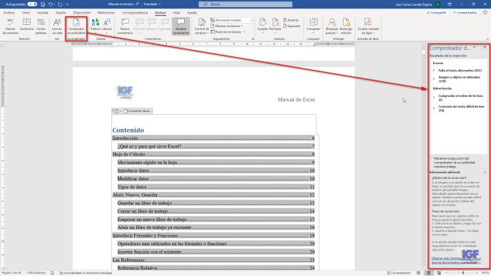 Comprobar la accesibilidad en tus documentos - igf.es
