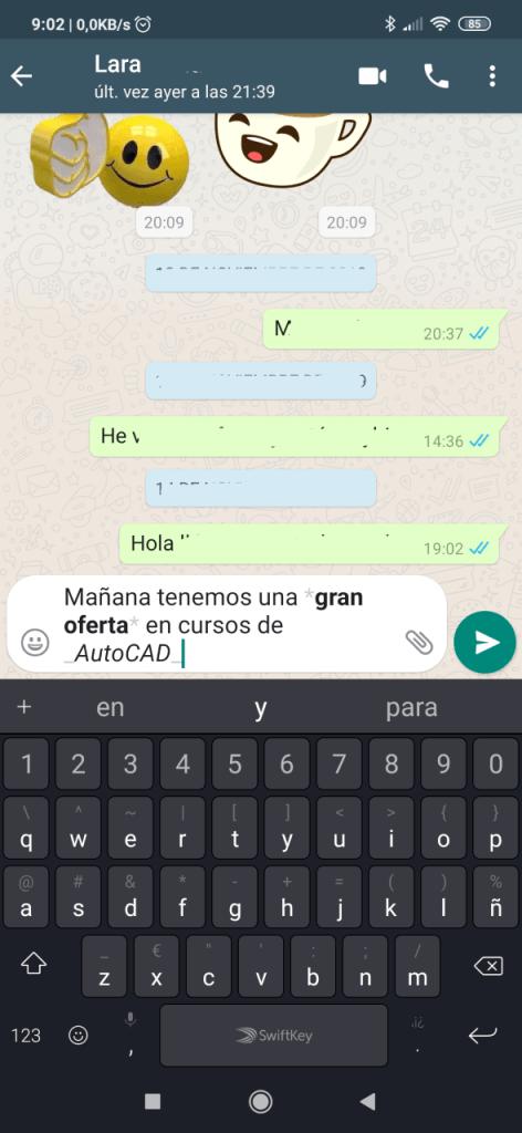 Dar formato al texto en WhatsApp