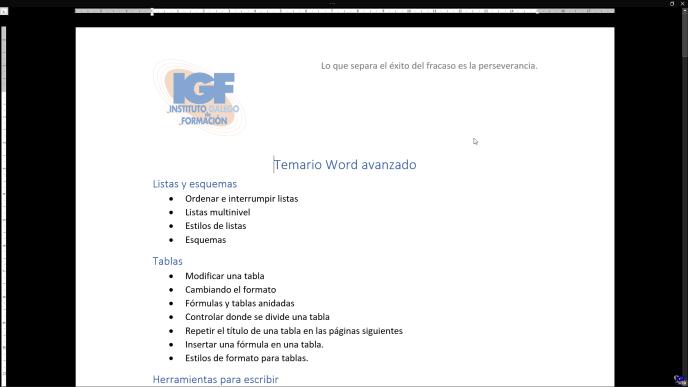 Modo de concentración en Word - igf.es