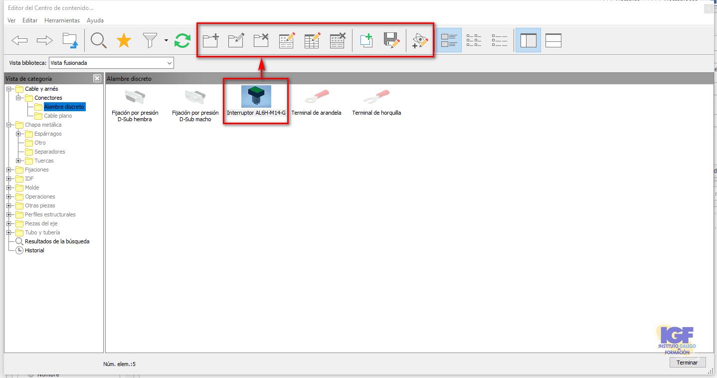 Operaciones en el editor del centro de contenido en Inventor - igf.es