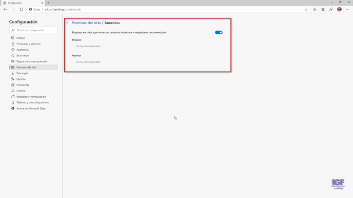 Activar y desactivar el bloqueo de anuncios en Microsoft Edge