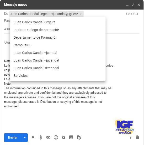 Nuevo mensaje Enviar como en Gmail