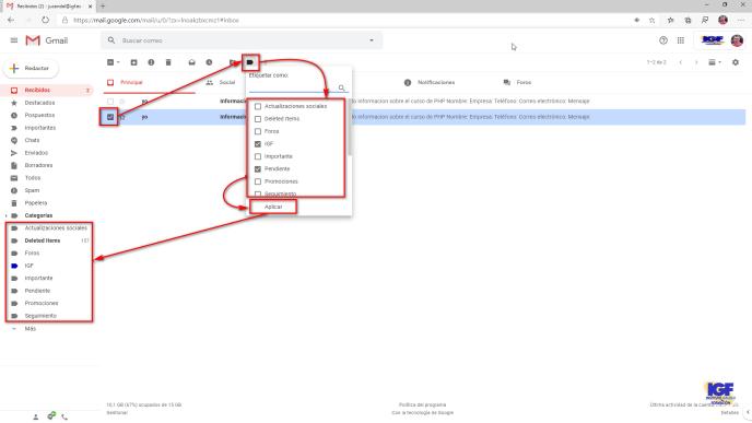 Asignar etiquetas en Gmail - igf.es