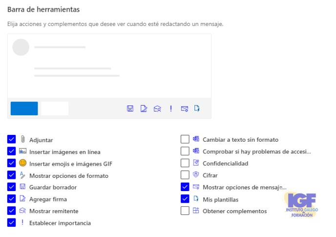 Barra de herramientas en OWA - igf.es