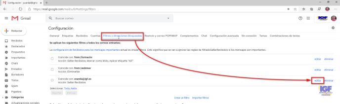 Editar un filtro en Gmail - igf.es