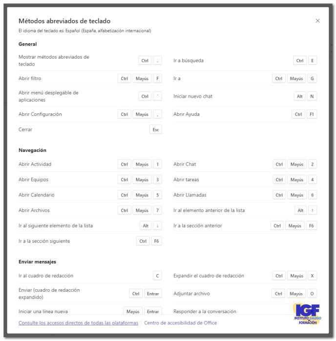 Métodos abreviados de teclado para Microsoft Teams en la aplicación web - igf.es