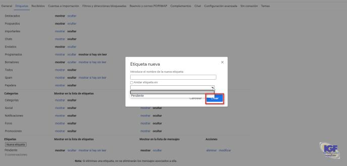 Crear etiquetas en Gmail - igf.es