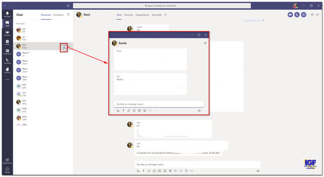 Chat emergente en Microsoft Teams - igf.es