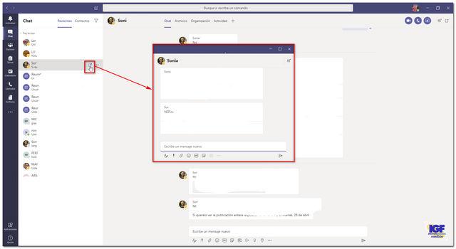 Chat emergente en Microsoft Teams - igf.es