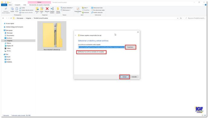 Descomprimir un archivo con el explorador de archivos - igf.es