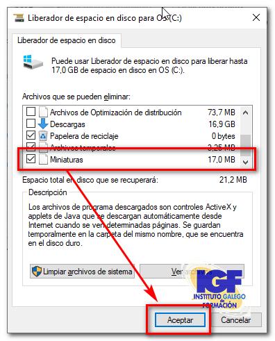 liberador de espacio en disco de Windows 10
