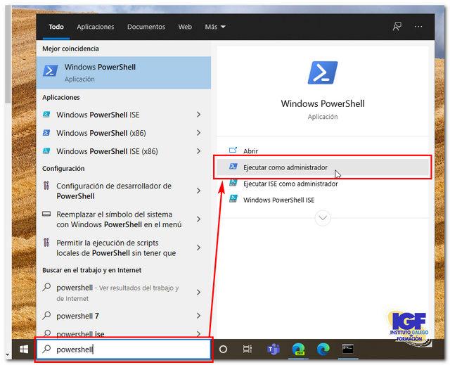 Ejecuta Windows PowerShell en modo administrador - igf.es