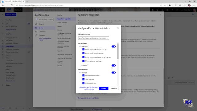 Configurar Microsoft Editor en OWA