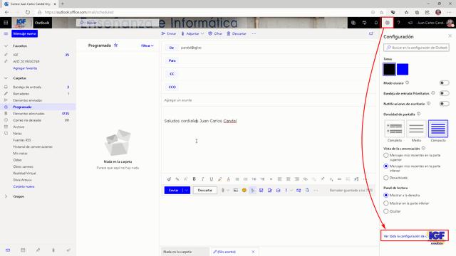 Microsoft Editor en OWA - igf.es