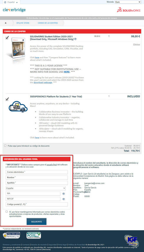 Datos usuario final SolidWorks