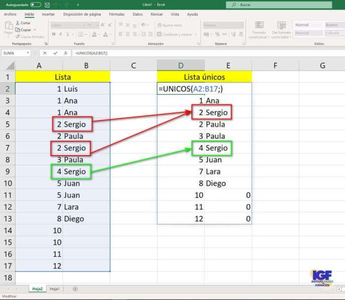 Función unicos en Microsoft Excel - igf.es