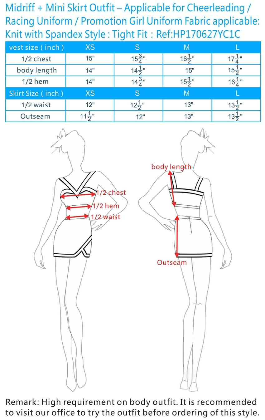 hight resolution of midriff mini skirt outfit applicable for cheerleading racing uniform promotion girl uniform fabric applicable knit with spandex style tight fit ref