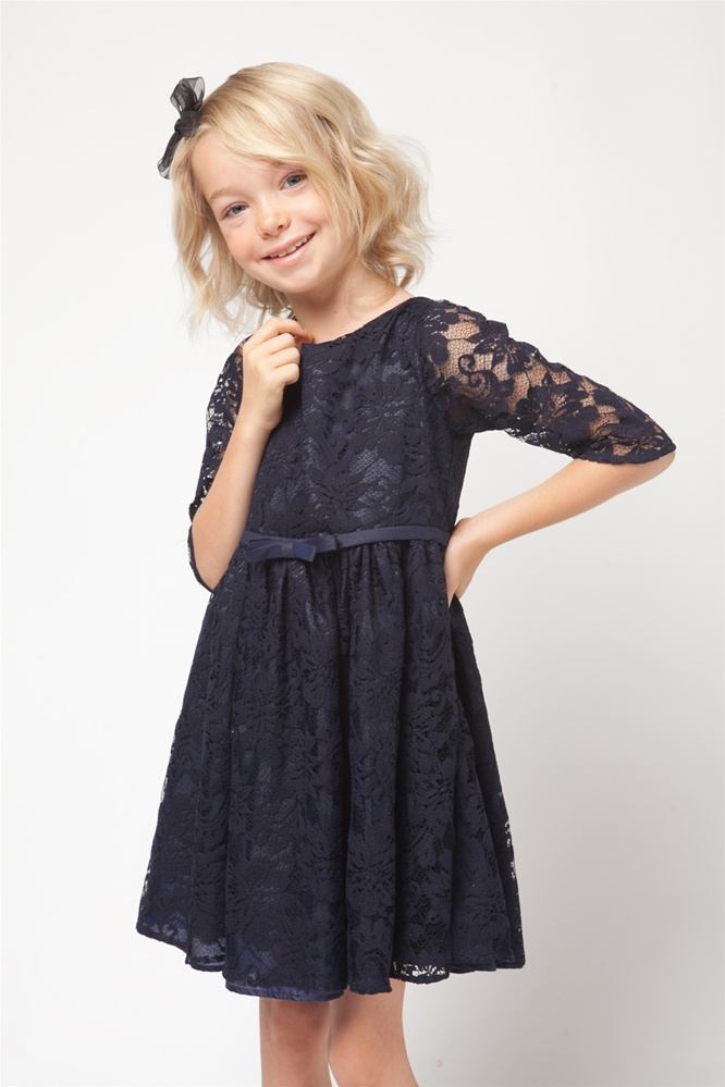 Flower Girl Dresses #SK453: Navy Three Quarter Sleeved