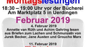 Veranstaltungstipp: Montagslesungen im Februar
