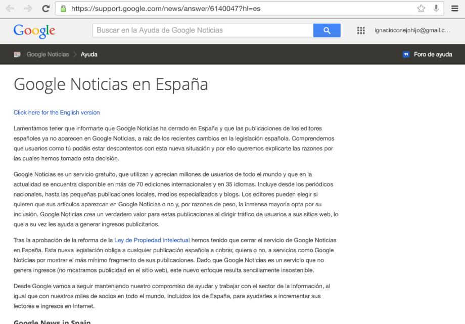 Canon AEDE Google News cierra