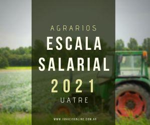 Trabajadores Rurales: Escalas UATRE 2021 Agrarios CNTA