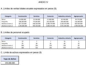 Parámetros PYME Resolución 220-19 ANEXO IV