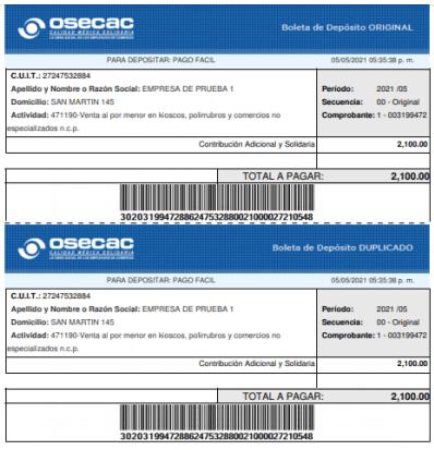 OSECAC contribución OSECAC 300 pesos