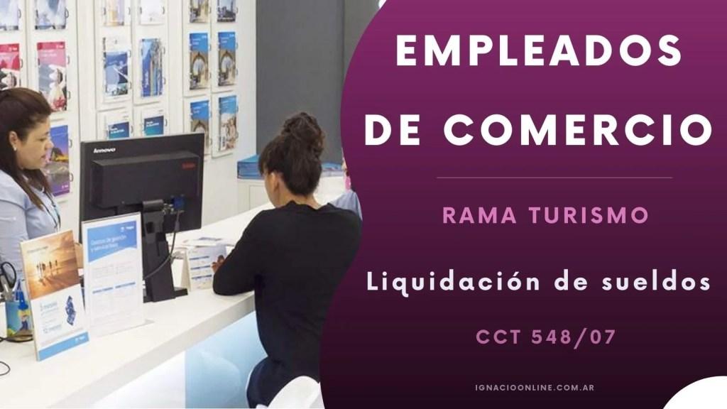 Liquidación de sueldos julio 2021 de Empleados de Agencias de Viaje y Turismo CCT 547/08.