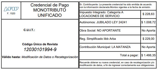 F 1520 Credencial de pago monotributo unificado arba provincia de buenos aires