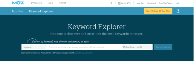 Moz keyword explorer | Moz tools