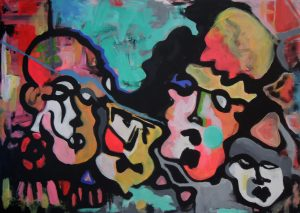 Abstract Painting Of Four Faces