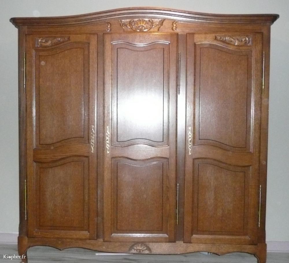 armoire 3 portes chene massif rustique