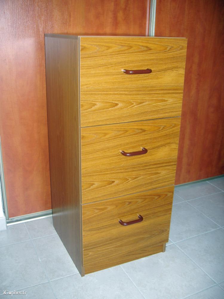 Classeur en bois 3 tiroirs pour dossiers suspendus  iGopherfr