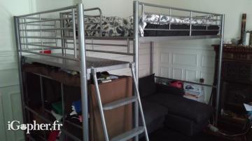 lit mezzanine 2 places avec plateforme