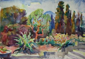 botanical_garden_crimea_watercolor