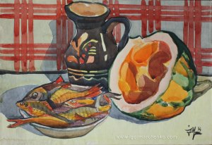 still_life_watercolor_fish_pumpkin