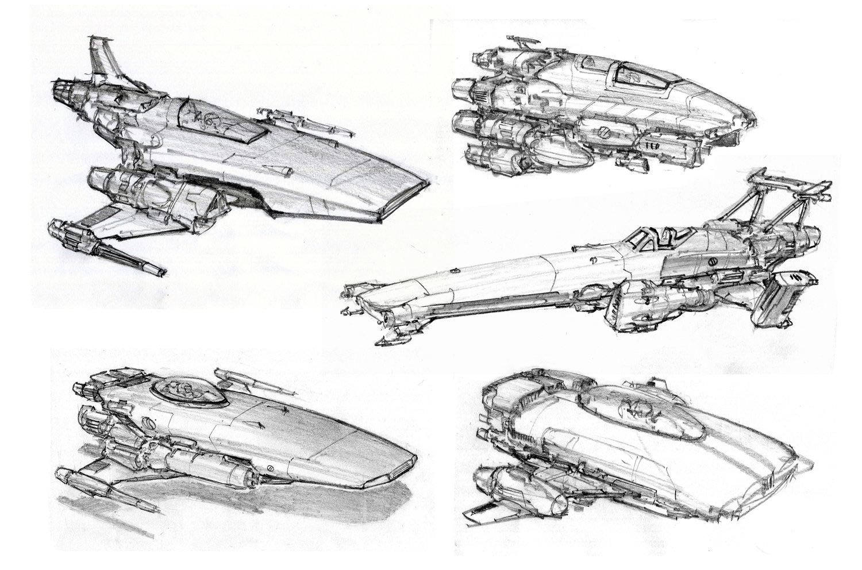 Concept Ships Spaceship Sketches By Alex Villarreal