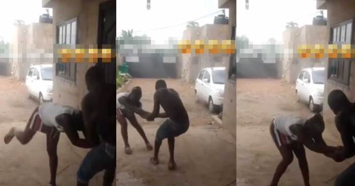 guy dragging a lady to go and chop