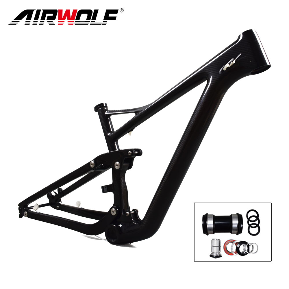 Airwolf 29er Full Suspension Carbon Mountain Bike Frame in Shock 190 ...