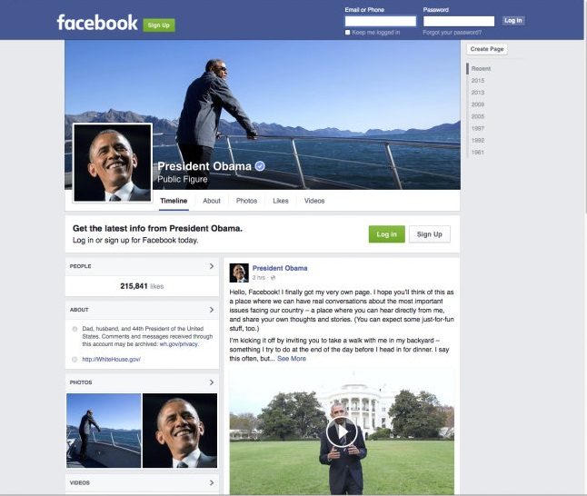 Obama Official Facebook Page