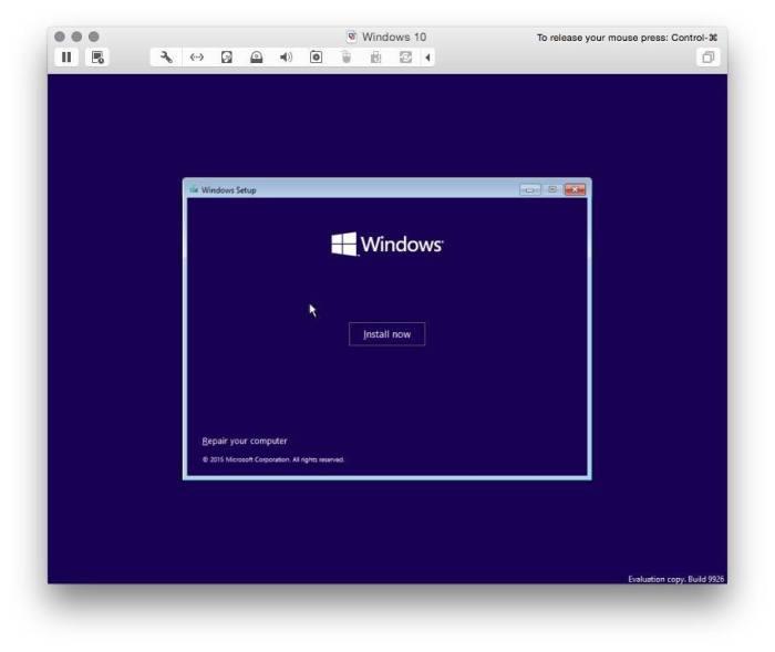 VMware Fusion install windows 10 1