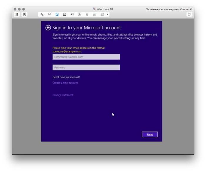 VMware Fusion install windows 10 13
