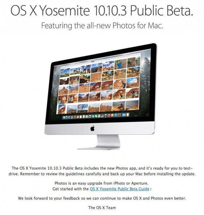 osx yosemite 10.10.3 public beta update 1