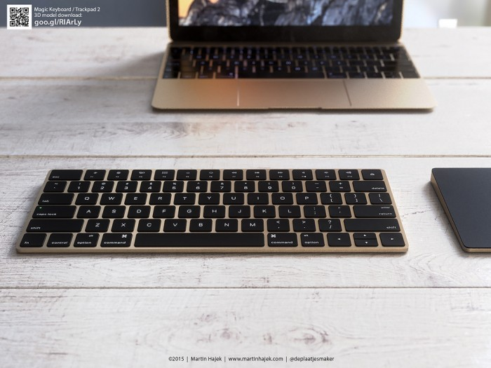 gold trackpad 2 and magic keyboard 4